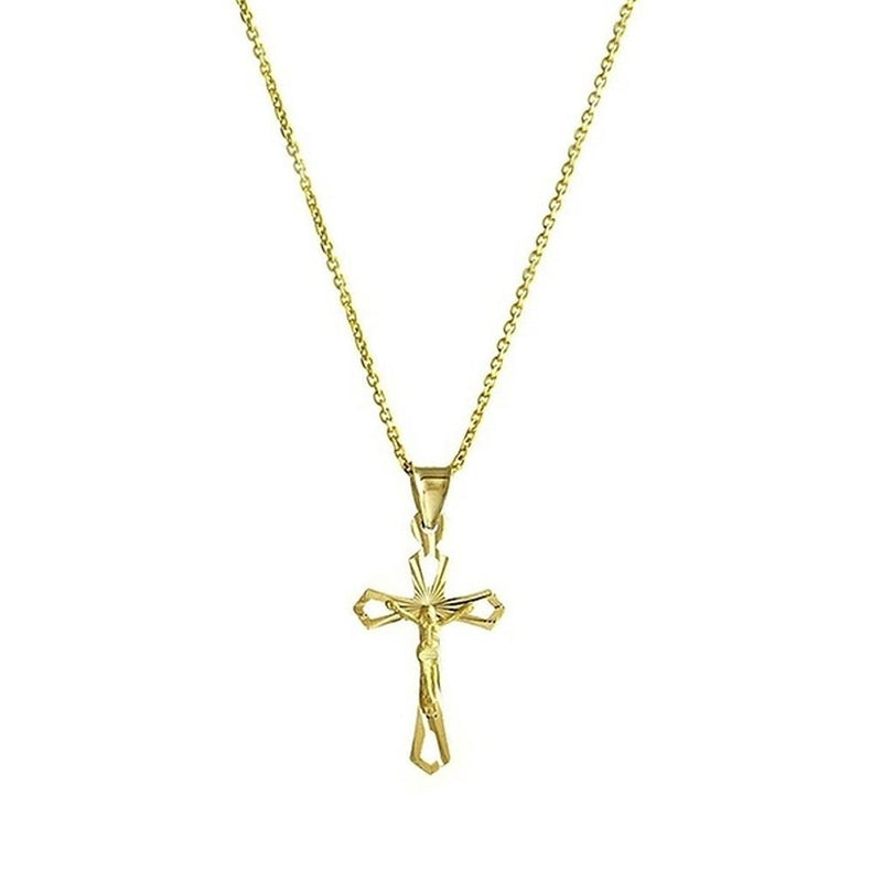 Solid 10K Yellow Gold Diamond Cut Cross Necklace Jewelry - DailySale