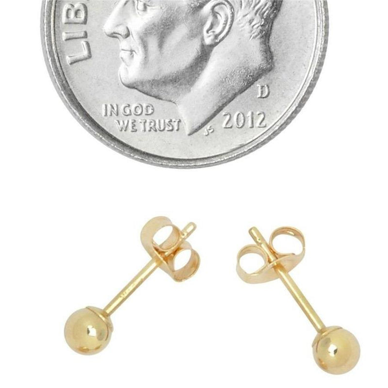 Solid 14K Gold Ball Studs - Assorted Sizes Jewelry 3mm - DailySale