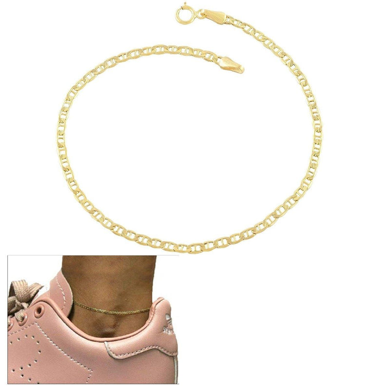 Solid 14K Gold Flat Marina Anklet Jewelry - DailySale