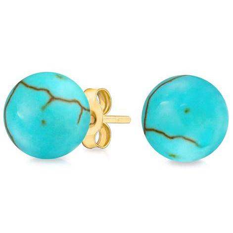 Solid 14K Gold Genuine Turquoise Ball Studs Earrings Earrings - DailySale