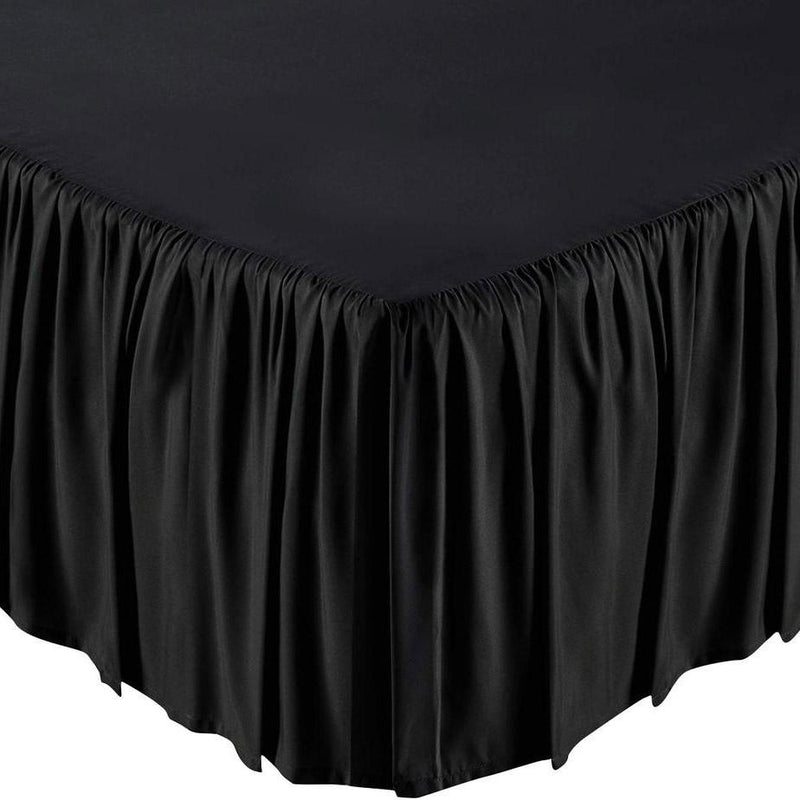 Solid Color Bed Skirt - Assorted Styles Linen & Bedding Full Black Ruffle - DailySale