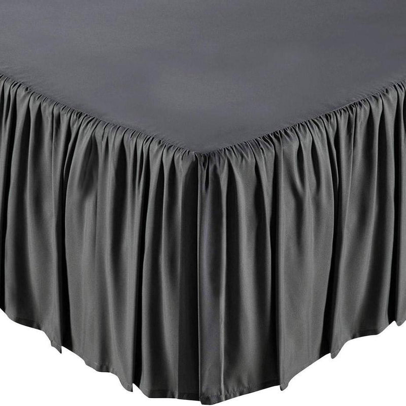 Solid Color Bed Skirt - Assorted Styles Linen & Bedding Full Gray Ruffle - DailySale