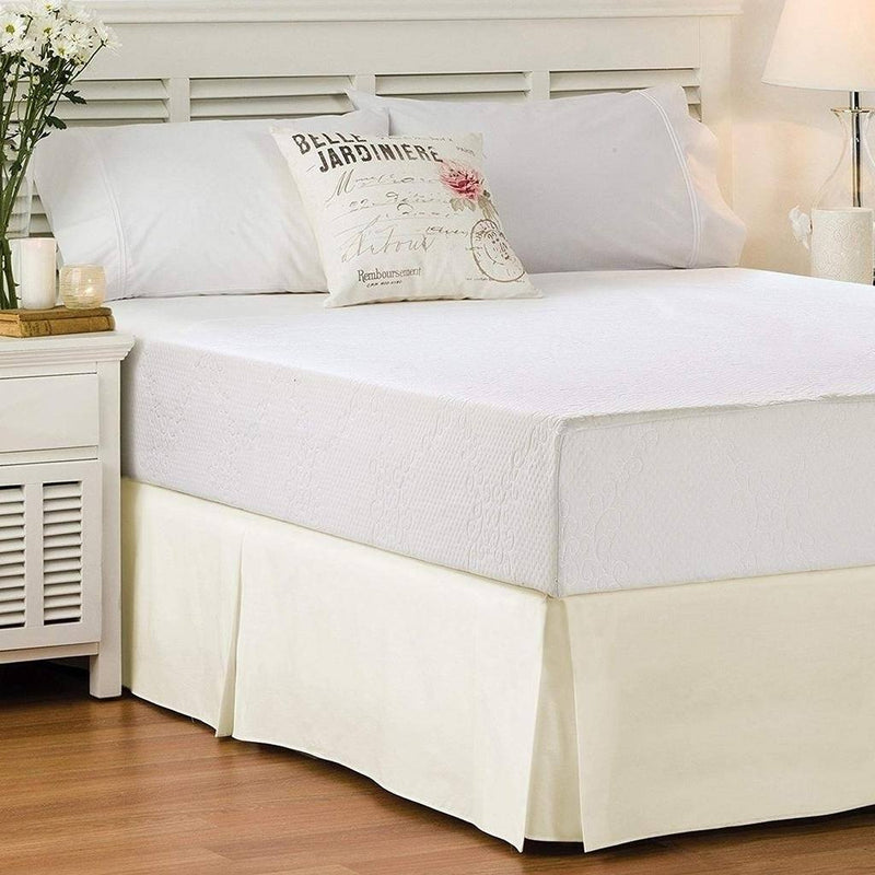 Solid Color Bed Skirt - Assorted Styles Linen & Bedding Full Vanilla Pleated - DailySale