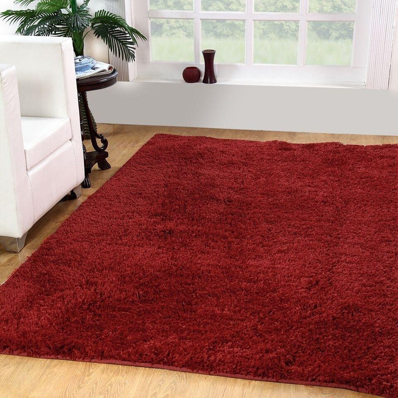 Solid Plush Shag Rug - Assorted Colors and Sizes Furniture & Decor 4' x 6' Red - DailySale