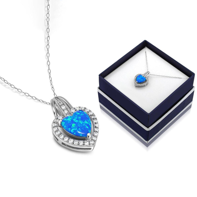 Solid Sterling Silver Blue Opal Heart Halo Necklace With Gift Box By MUIBLU Gems Necklaces - DailySale