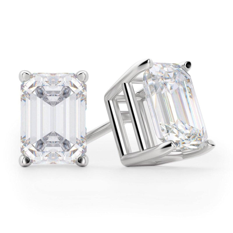 Solid Sterling Silver Emerald Cut Studs Jewelry - DailySale