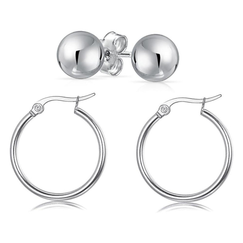 Solid Sterling Silver Hoop And Ball Set Jewelry - DailySale