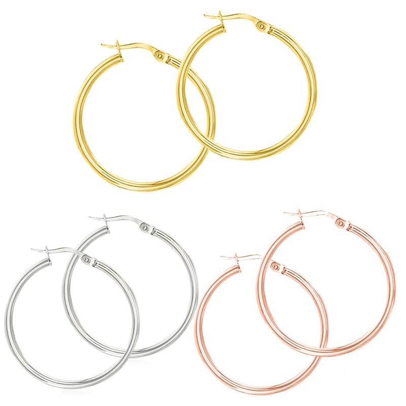 Solid Sterling Silver Plain French Lock Hoops Jewelry - DailySale