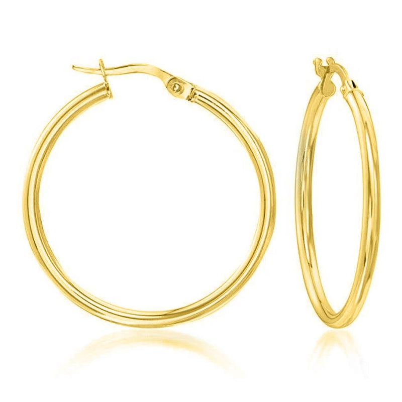 Solid Sterling Silver Plain French Lock Hoops Jewelry Gold - DailySale