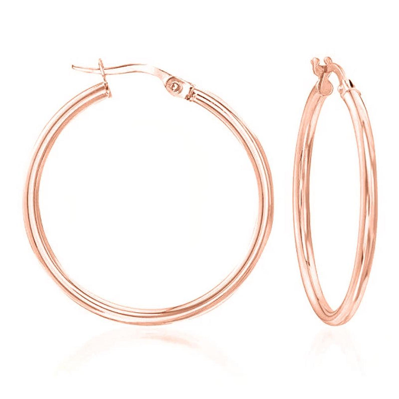 Solid Sterling Silver Plain French Lock Hoops Jewelry Rose Gold - DailySale