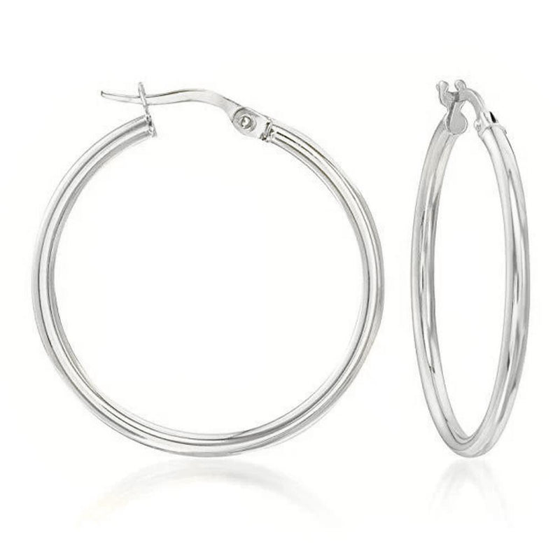Solid Sterling Silver Plain French Lock Hoops Jewelry Silver - DailySale