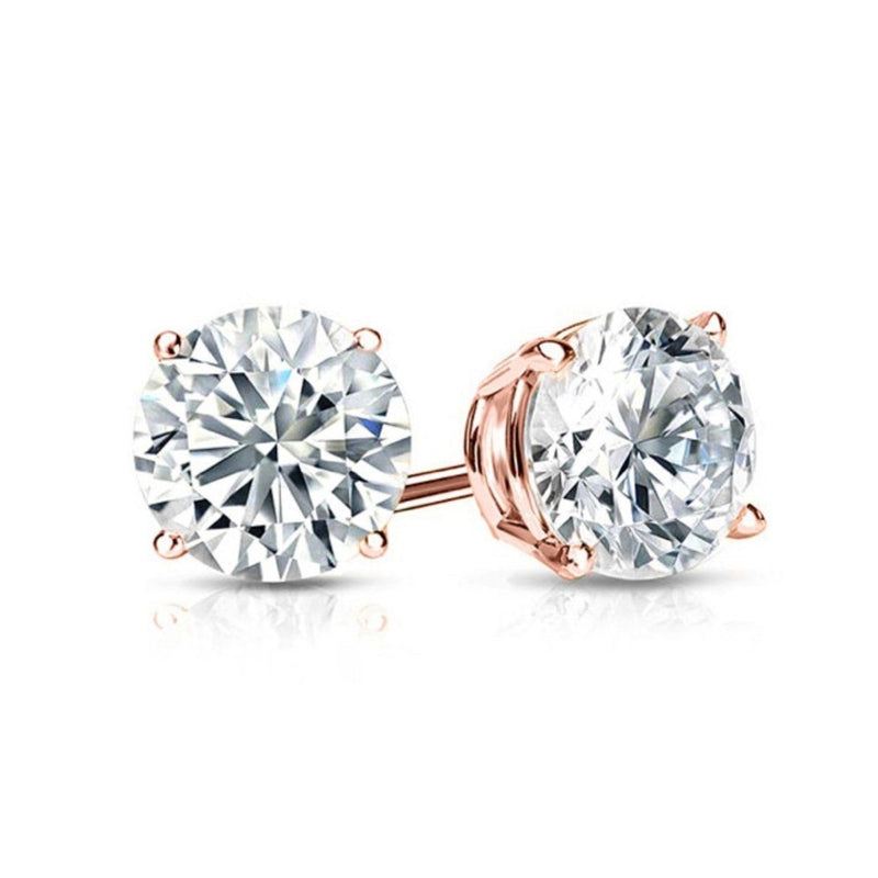 Solid Sterling Silver Round Crystal Studs Earrings Rose Gold - DailySale