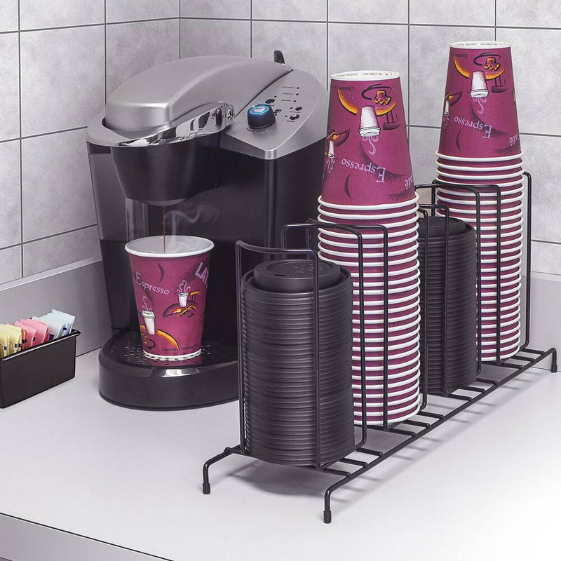 Sorbus 4-sectional Black Cup and Lid Organizer - DailySale, Inc