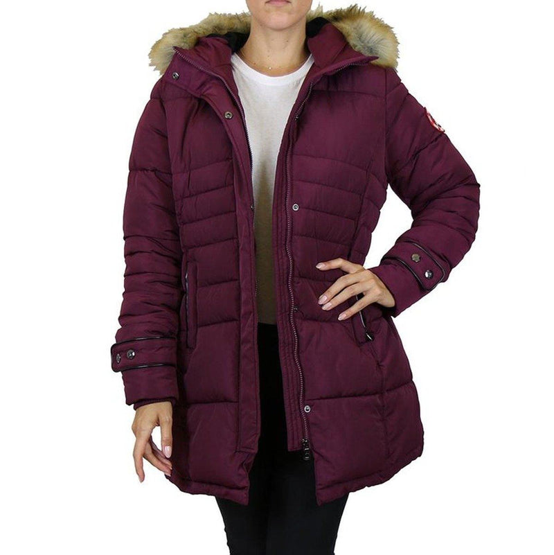 Spire By Galaxy Heavyweight Women's Parka with Hood Women's Apparel S Burgundy Apex - DailySale