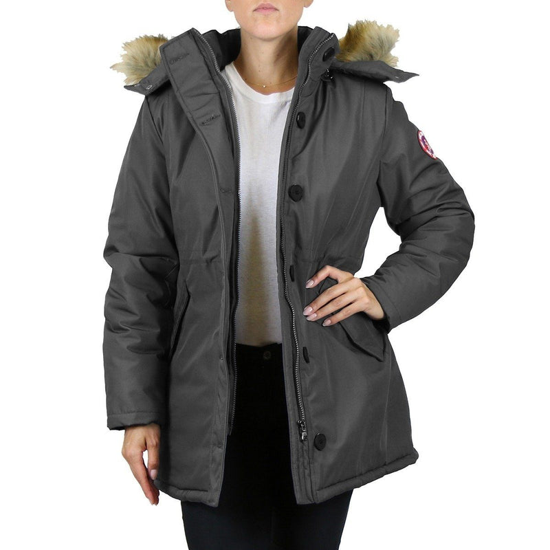 Spire By Galaxy Heavyweight Women's Parka with Hood Women's Apparel S Charcoal Stormy - DailySale