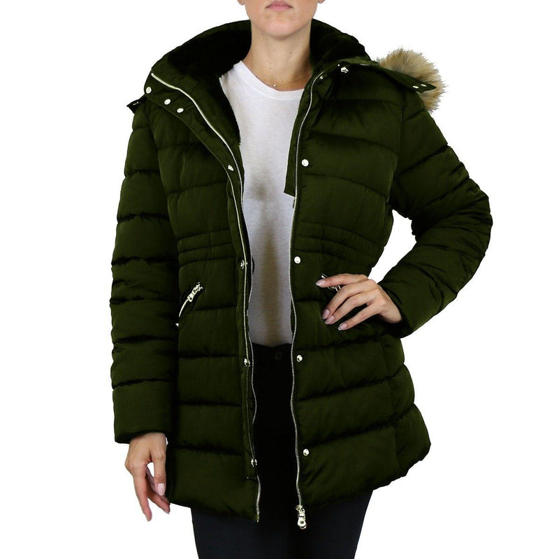 Spire By Galaxy Heavyweight Women's Parka with Hood Women's Apparel S Dark Olive Nova - DailySale