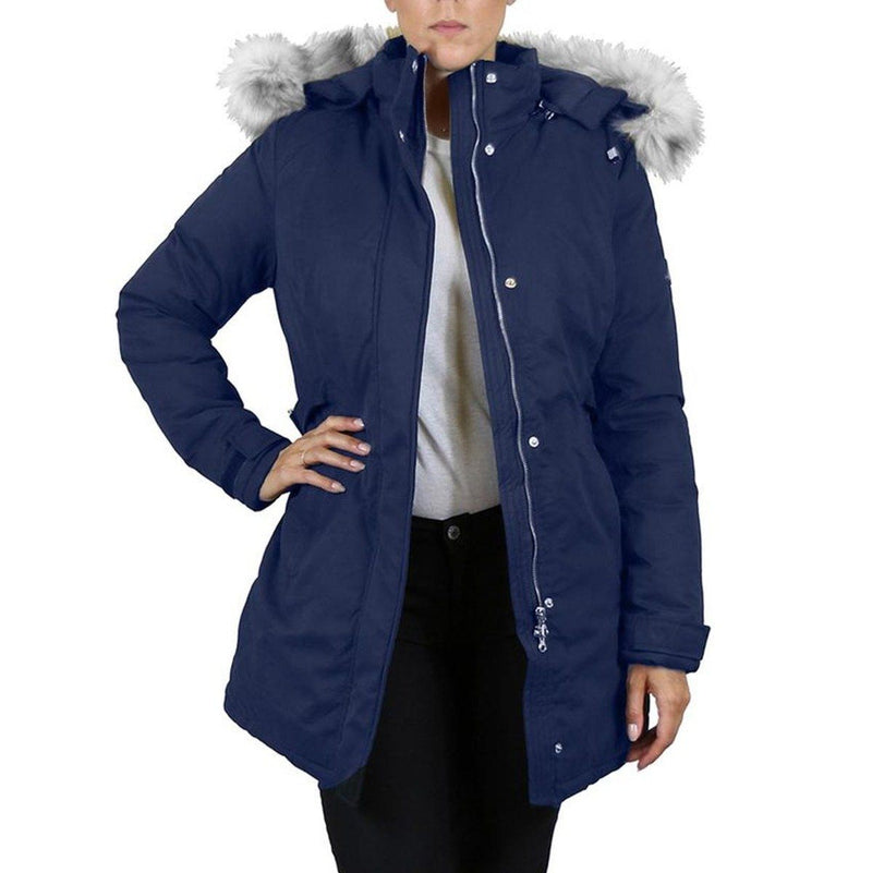 Spire By Galaxy Heavyweight Women's Parka with Hood Women's Apparel S Navy Classic - DailySale