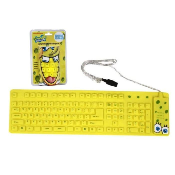 SpongeBob Yellow USB Wired Roll-up Keyboard Gadgets & Accessories - DailySale