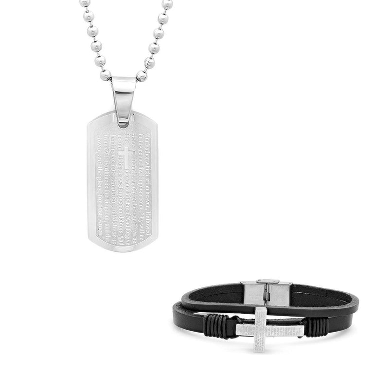 Stainless Steel Our Father Prayer Leather Bracelet and Dog Tag Pendant Bracelets - DailySale