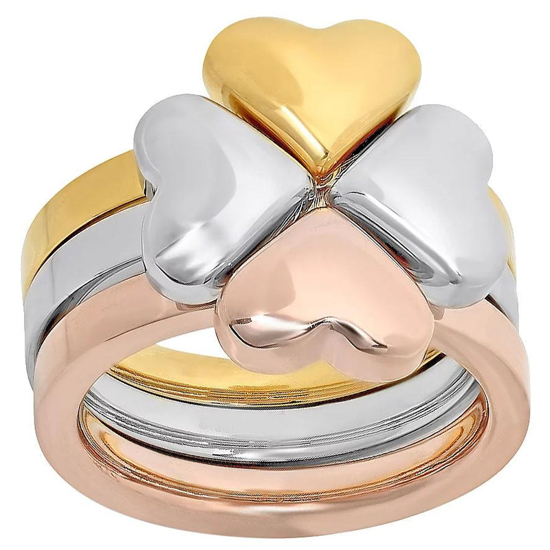 Steel by Design Three-Piece Heart Clover Ring Rings 6 - DailySale