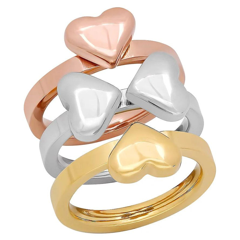 Steel by Design Three-Piece Heart Clover Ring Rings - DailySale