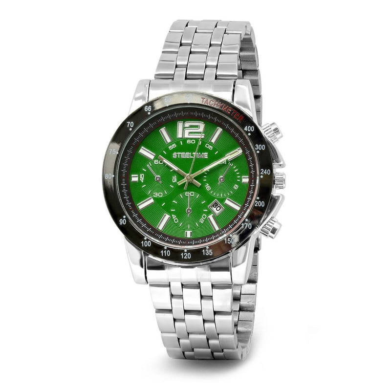 SteelTime Men's Stainless Steel Watches Men's Accessories Green - DailySale