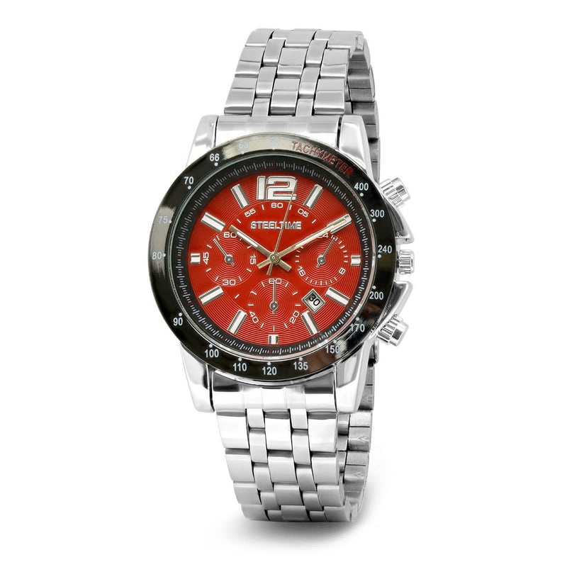 SteelTime Men's Stainless Steel Watches Men's Accessories Red - DailySale