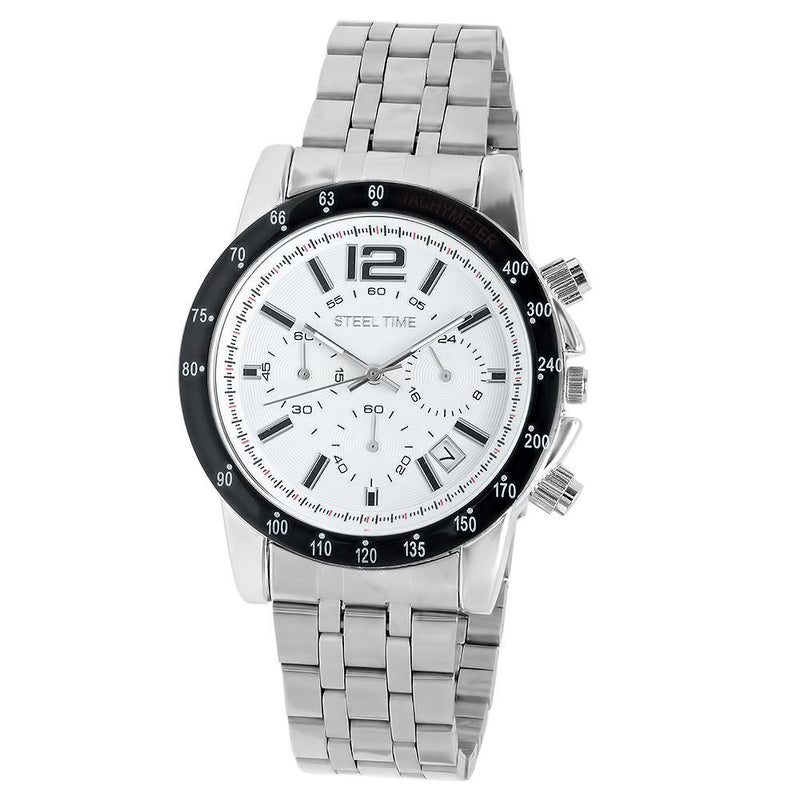 SteelTime Men's Stainless Steel Watches Men's Accessories White - DailySale