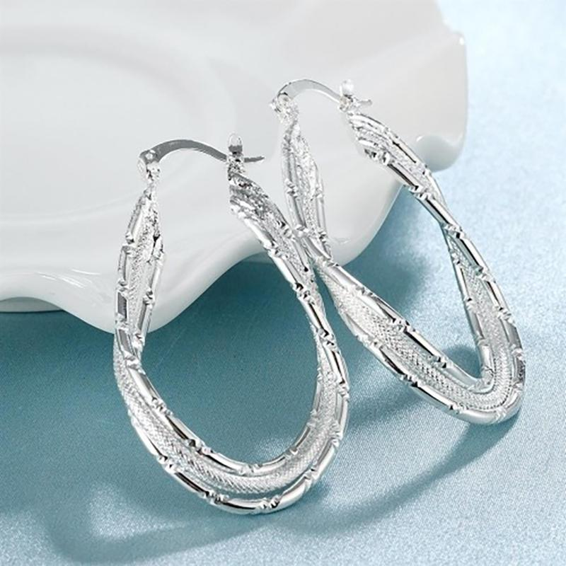 Sterling Silver Abstract French Lock Hoops Jewelry - DailySale