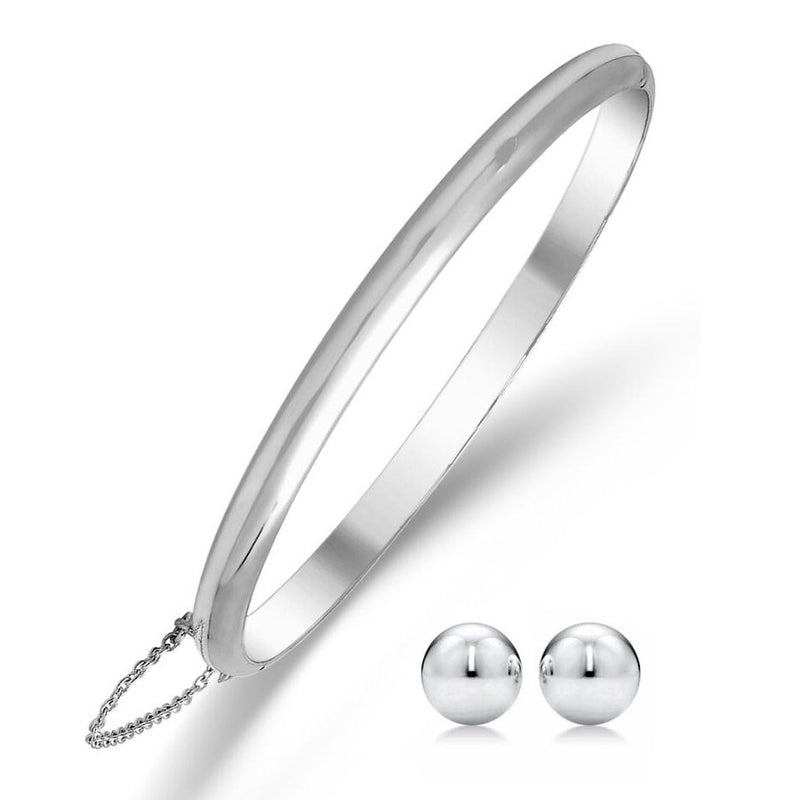 Sterling Silver Bangle with Ball Stud Earring Set Jewelry - DailySale