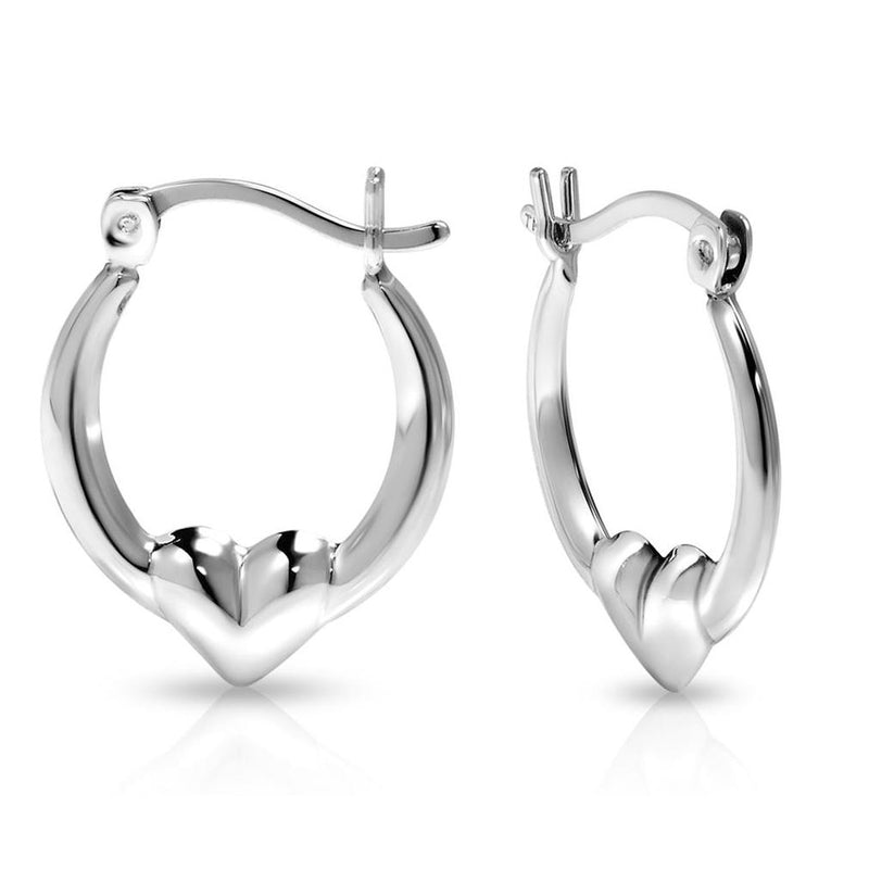Sterling Silver Classic Heart Design Hoop Earrings Jewelry - DailySale
