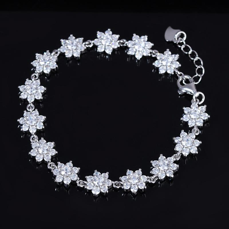 Sterling Silver Crystal Flower Tennis Bracelet Jewelry - DailySale