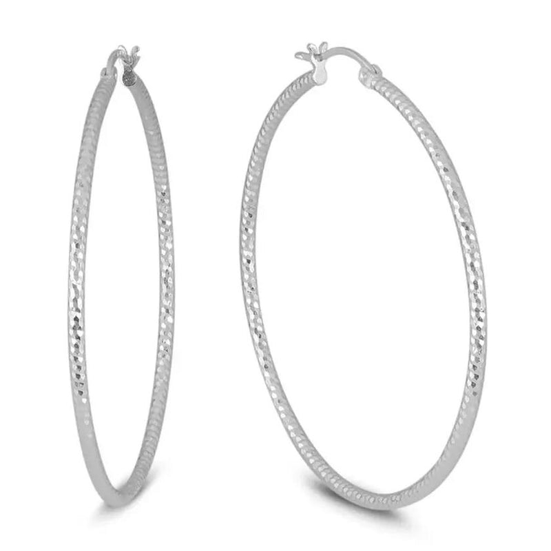 Sterling Silver Diamond Cut Hoop Earrings by Sevil 925 Earrings 15mm - DailySale