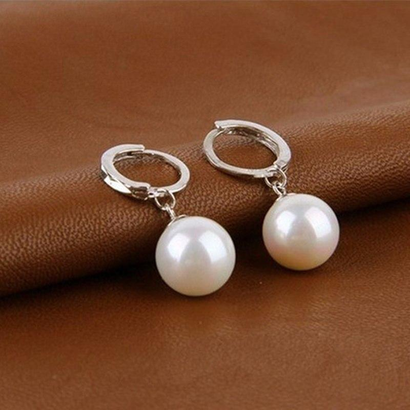 Sterling Silver Diamond Cut Pearl Drop Earrings Jewelry - DailySale