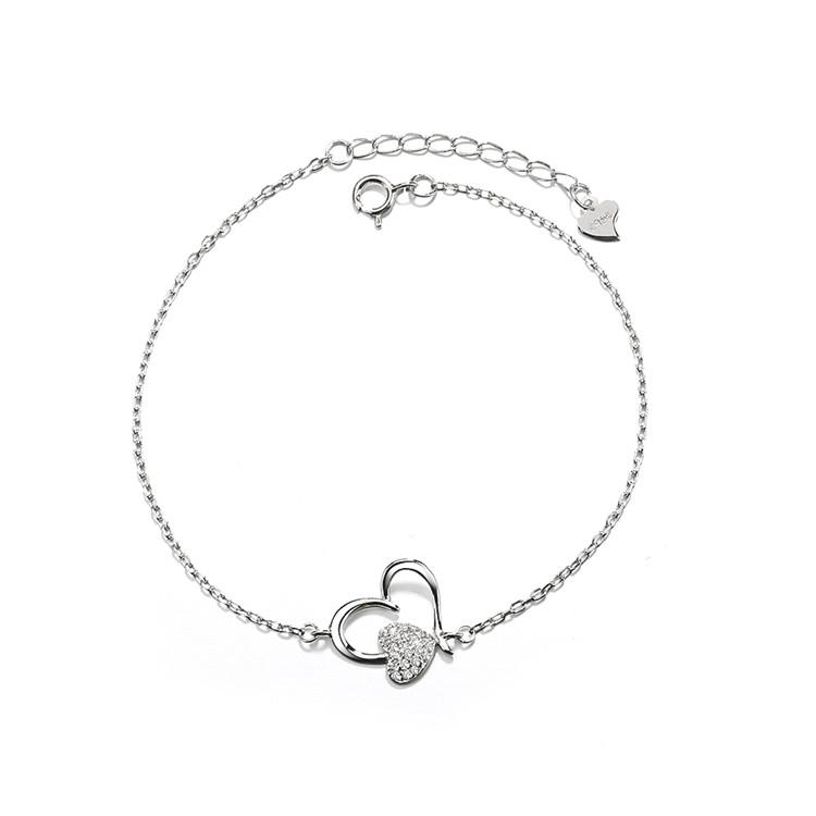 Sterling Silver Double Heart Anklet With Swarovski Crystals Bracelets - DailySale