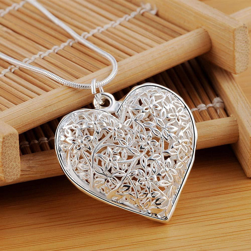 Sterling Silver Filigree Puffed Heart Necklace Jewelry - DailySale