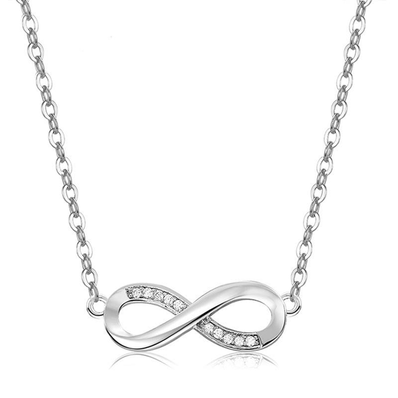 Sterling Silver Infinity Pendant Love Necklace Jewelry - DailySale
