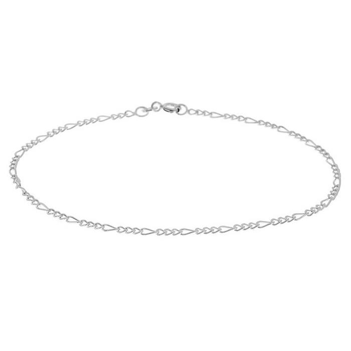 Sterling Silver Italian Made Anklets Bracelets Figaro - DailySale