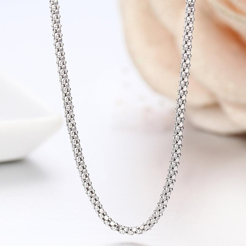 Sterling Silver Italian Popcorn Chain Necklace Jewelry - DailySale