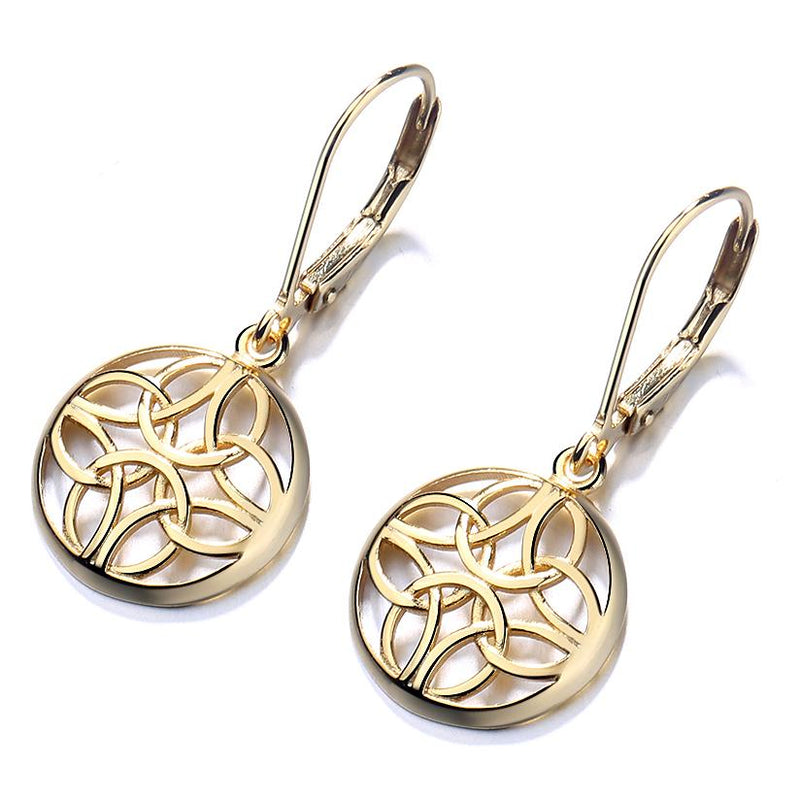 Sterling Silver Lever-Back Celtic Earrings Earrings Gold - DailySale