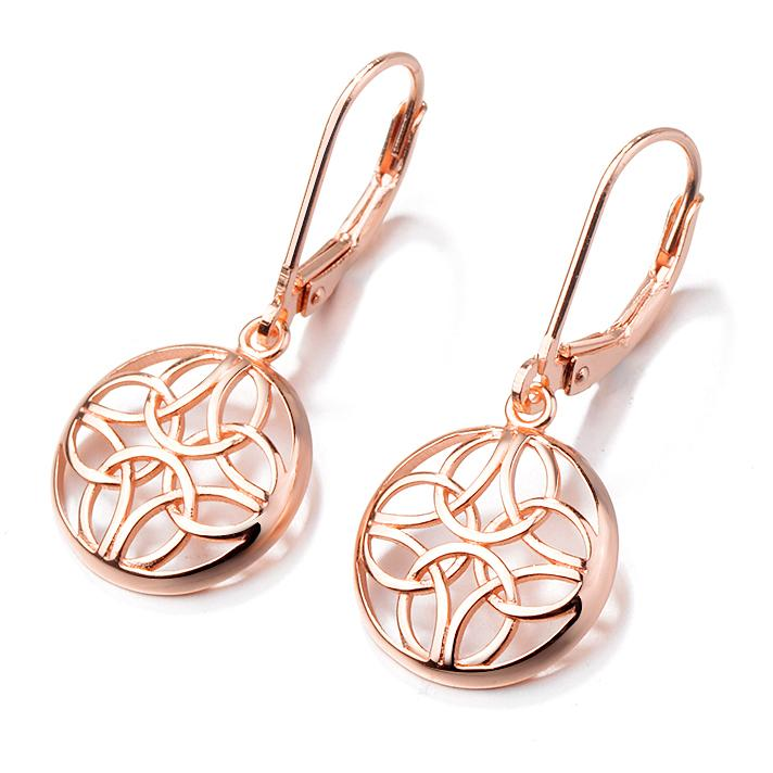 Sterling Silver Lever-Back Celtic Earrings Earrings Rose Gold - DailySale
