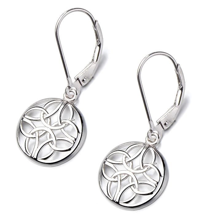 Sterling Silver Lever-Back Celtic Earrings Earrings Silver - DailySale