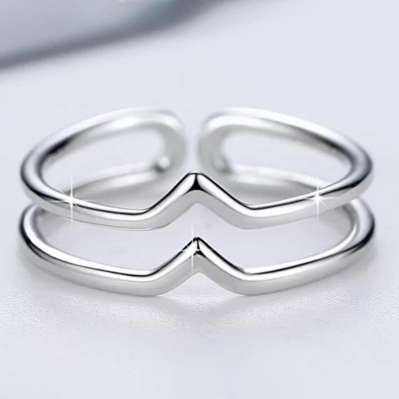 Sterling Silver Minimalist 2 Row Adjustable Bypass Ring Jewelry - DailySale