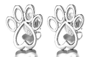 Sterling Silver Paw Stud Earrings Earrings - DailySale