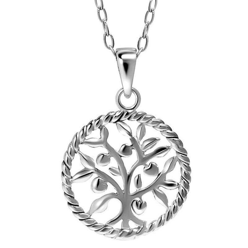 Sterling Silver Round Tree Of Life Necklace Jewelry - DailySale