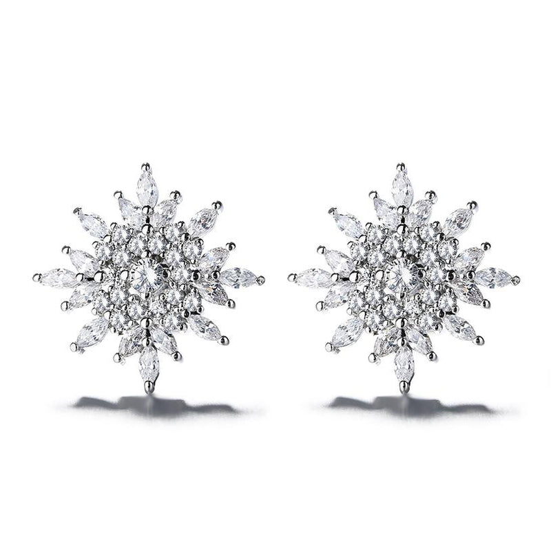 Sterling Silver Starburst Stud Earrings With Swarovski Crystals Jewelry - DailySale