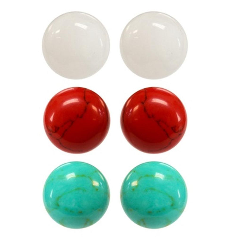 Sterling Silver Trio Red, White and Turquoise Stud Earring Set Jewelry - DailySale