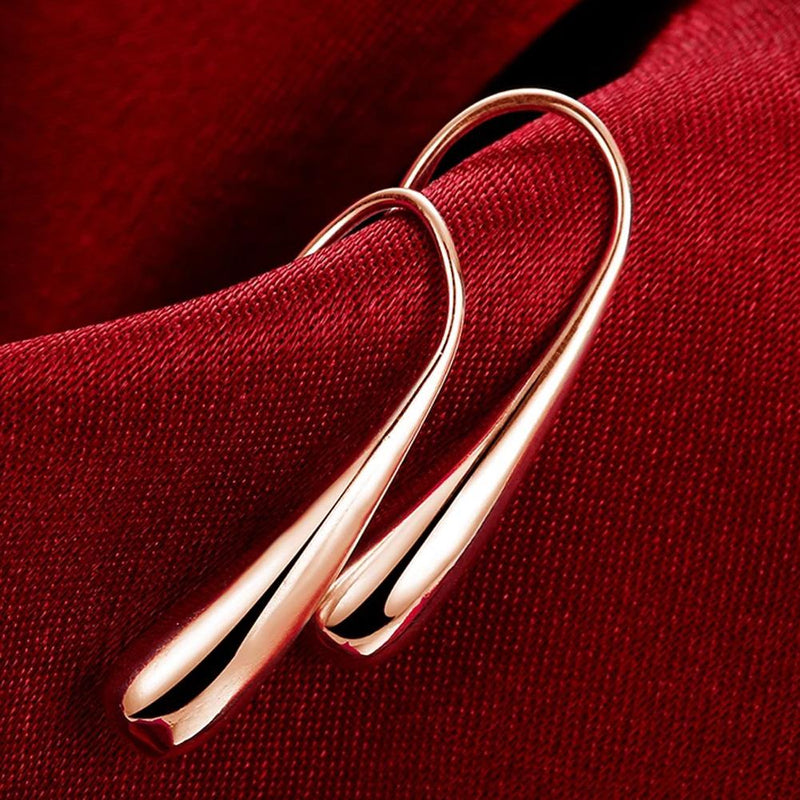 Sterling Silver Waterdrop Hook Earrings Jewelry Rose Gold - DailySale