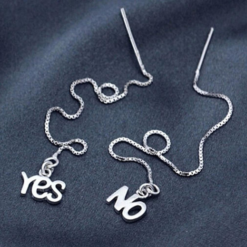 Sterling Silver Yes And No Long Threader Earrings Jewelry - DailySale