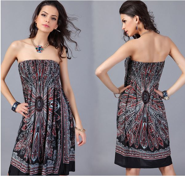 Strapless Paisley Print Dress - Assorted Styles and Sizes Women's Apparel L Black Explosion - DailySale